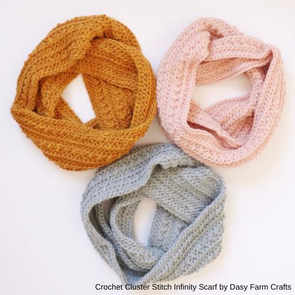 daisyfarmcrafts- crochet-cluster-stitch-infinity-scarf