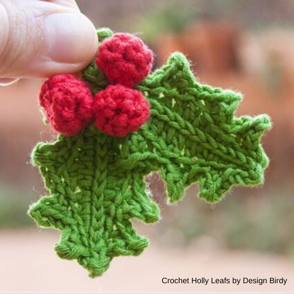 design-birdy - crochet-holly-leafs