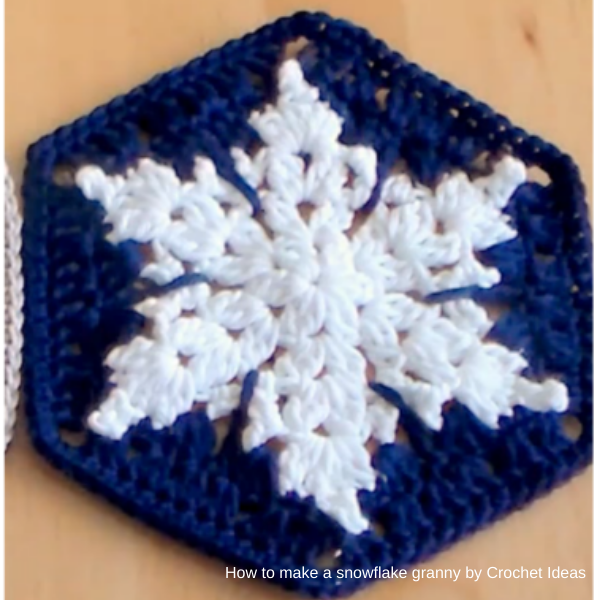 crochet-ideas - how-to-make-a-snowflake-granny