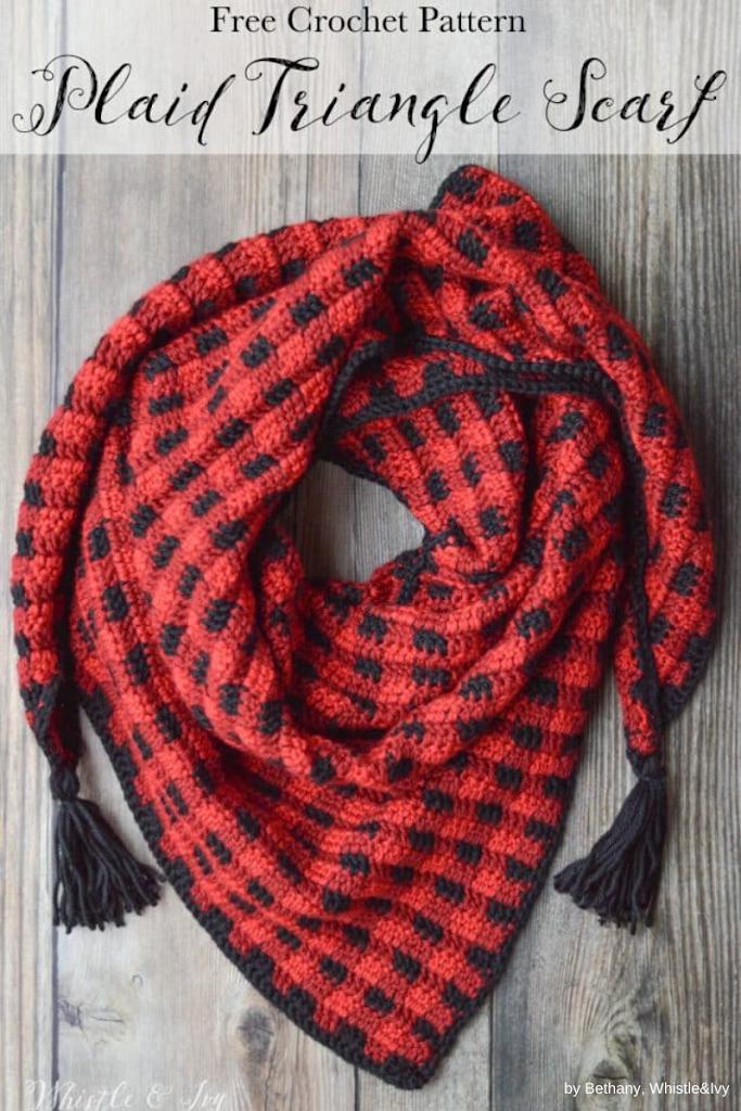 whistleandivy - crochet-plaid-triangle-scarf