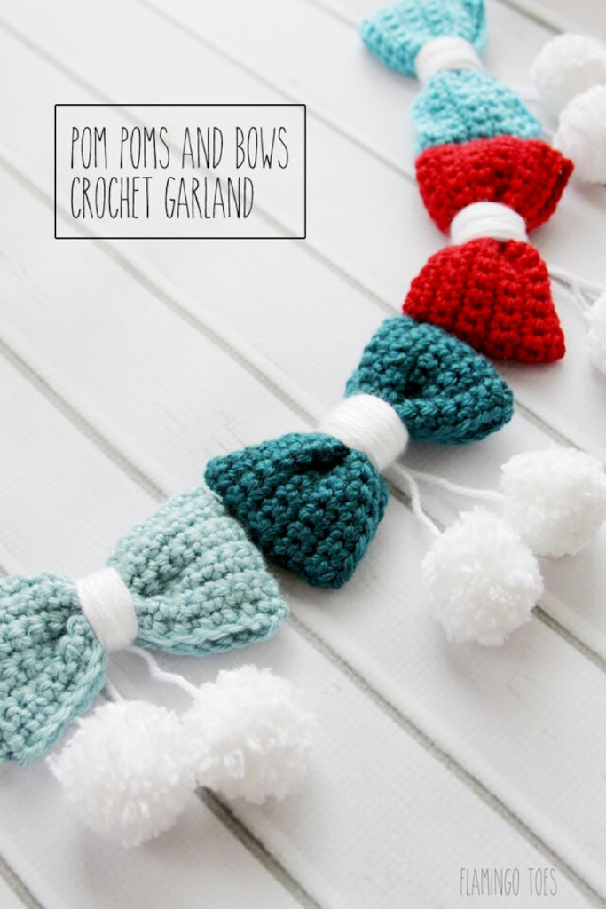 bloglovin - pom-poms-bows-crochet-garland
