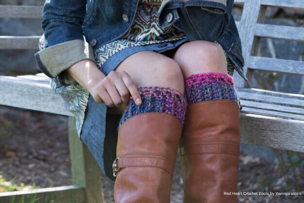 yarnspirations - row-en/red-heart-crochet-boot-cuffs