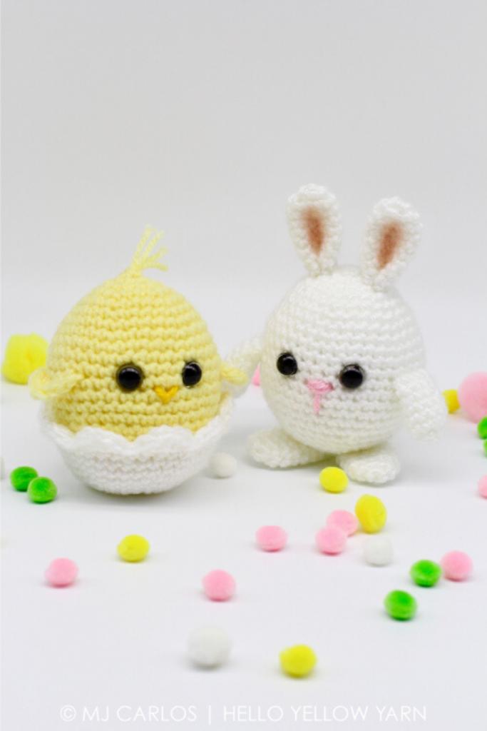 pintainho e coelho de Helllo Yellow Yarn, peças em crochet para a páscoa