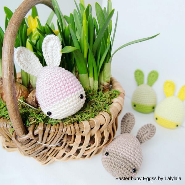 coelhos ovais de Lalylala, peças em crochet para a páscoa