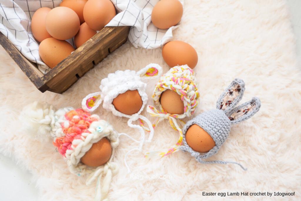 ovos decorados com capacetes de ovelhas e coelhos, peças em crochet para a páscoa